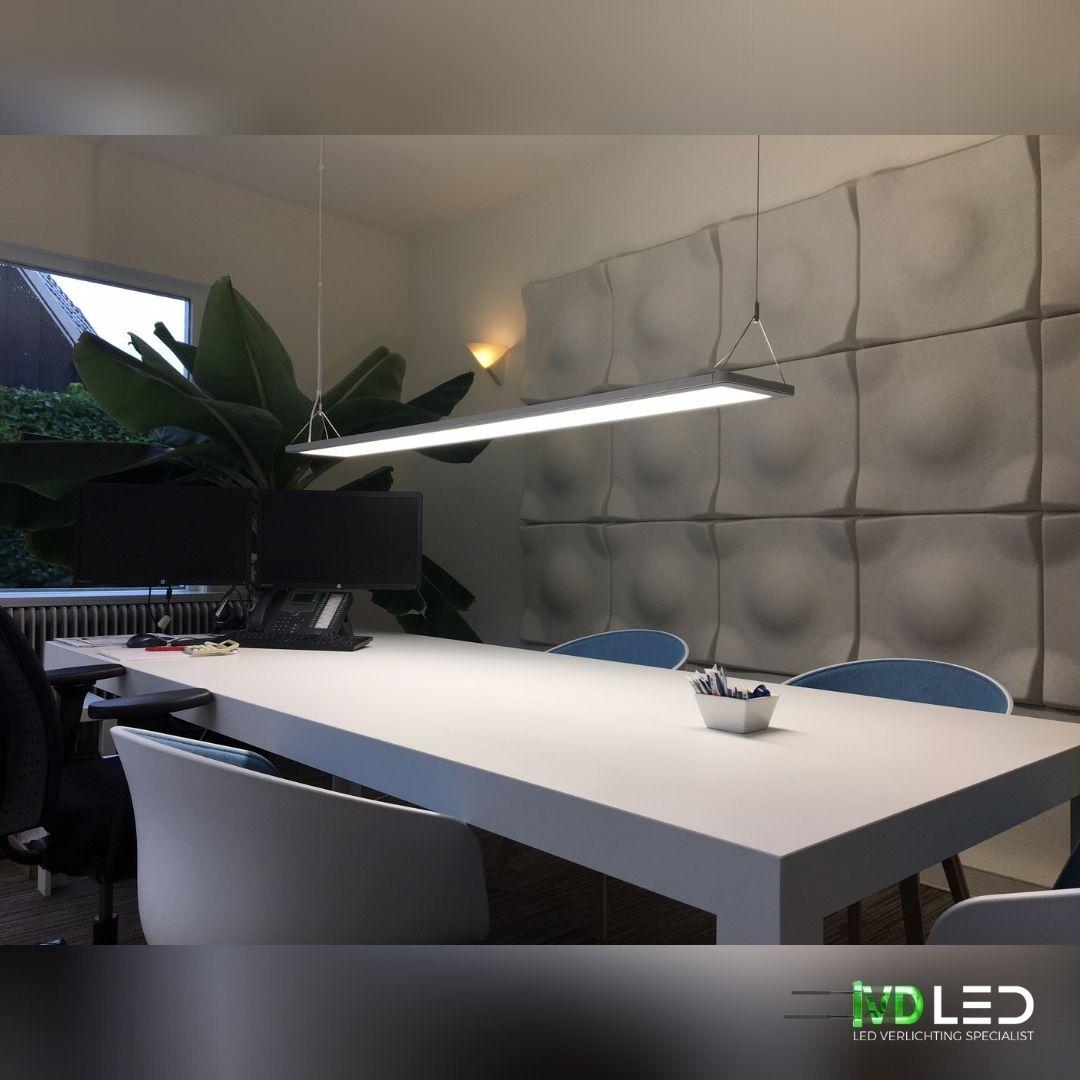 Bespreekkamer met tafel en stoelen verlicht met LED verlichting. Het LED paneel is ontwerp met directe en indirecte lichtverdeling, waardoor comfort en efficiëntie worden gecombineerd