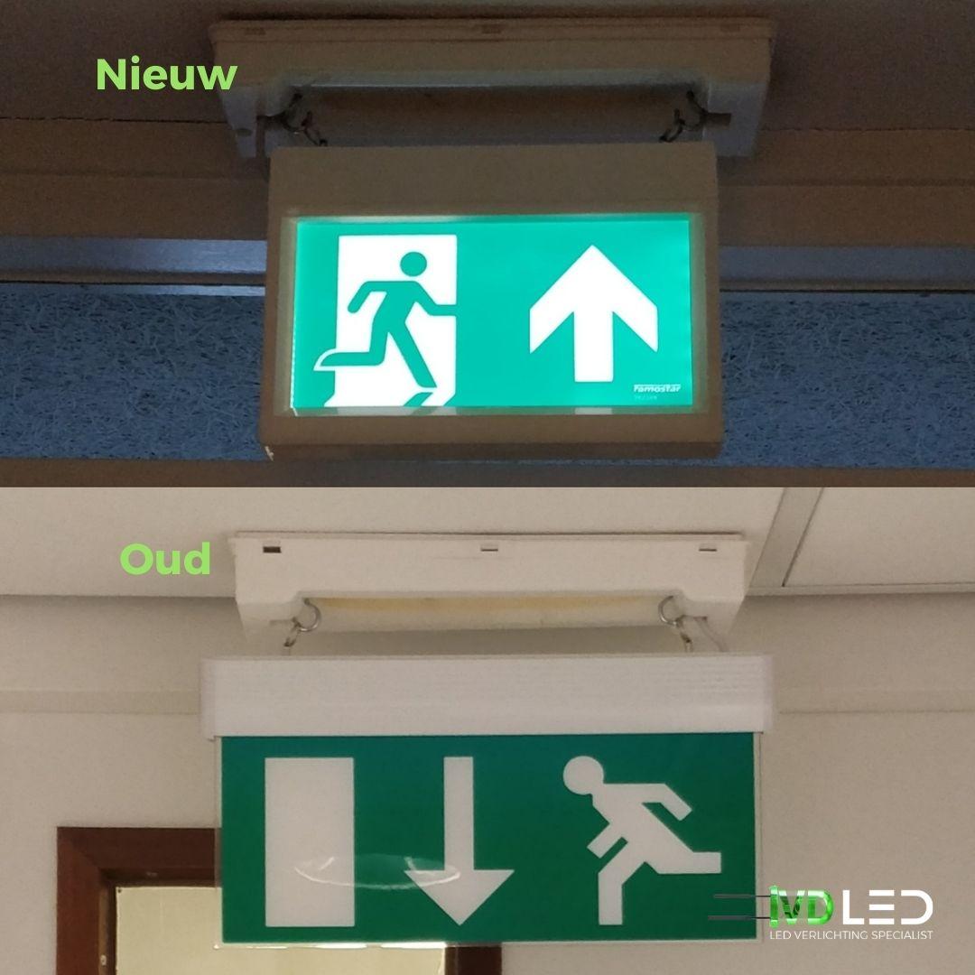 Noodverlichting vluchtwegaanduiding met pictogrammen oude en nieuwe model